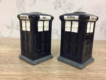 London Police Box Tardis Blue Salt & Pepper Shaker Cruet Set